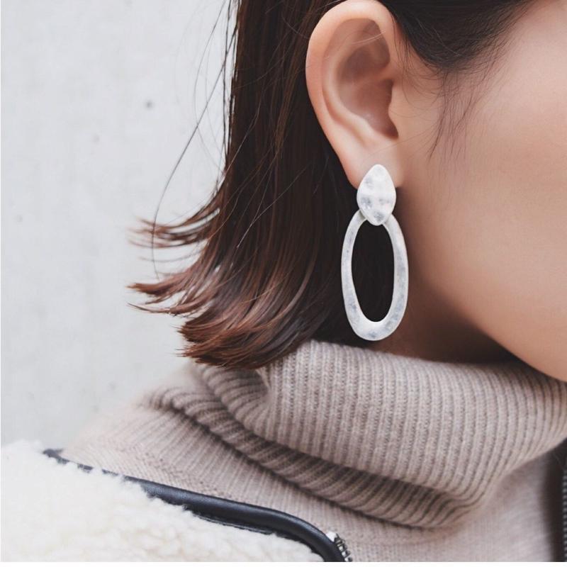 Silver Drop Plate Earrings