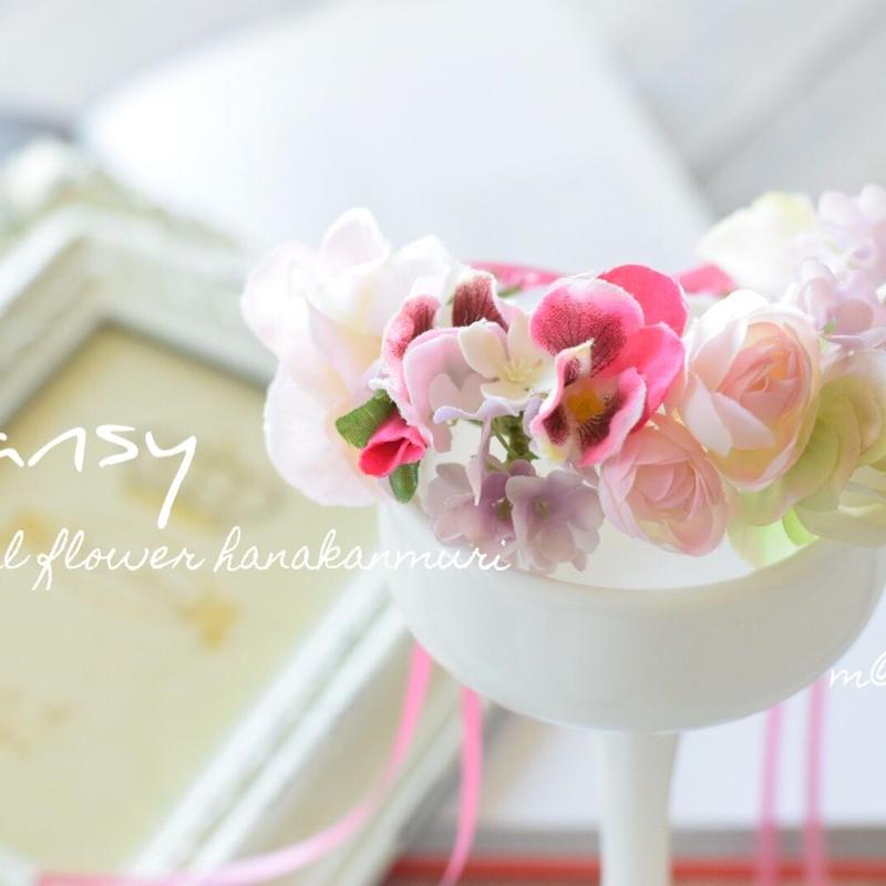 ピンクパンジー花かんむり