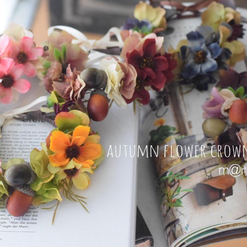 秋色コスモス花かんむり