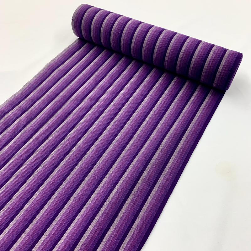 6-753 流行色のパープル×ストライプで大人カジュアルに 片貝木綿  反物  7