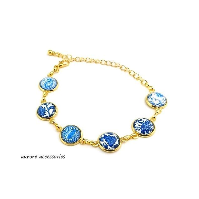 bracelet ブレスレット チェーン ブルー系 フラワー 青