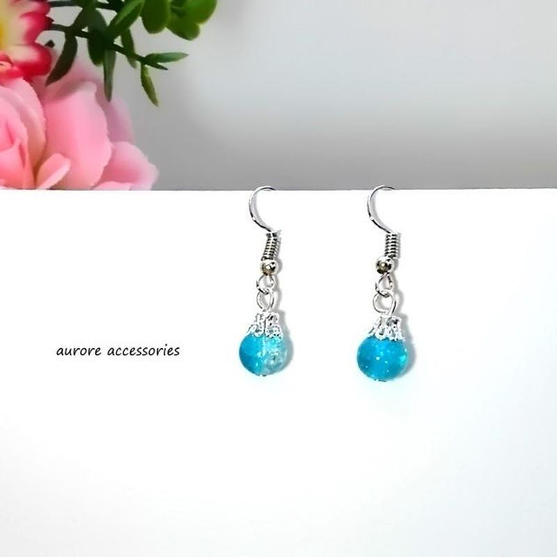 blue pierced earrings クラックビーズのピアス ブルー 青