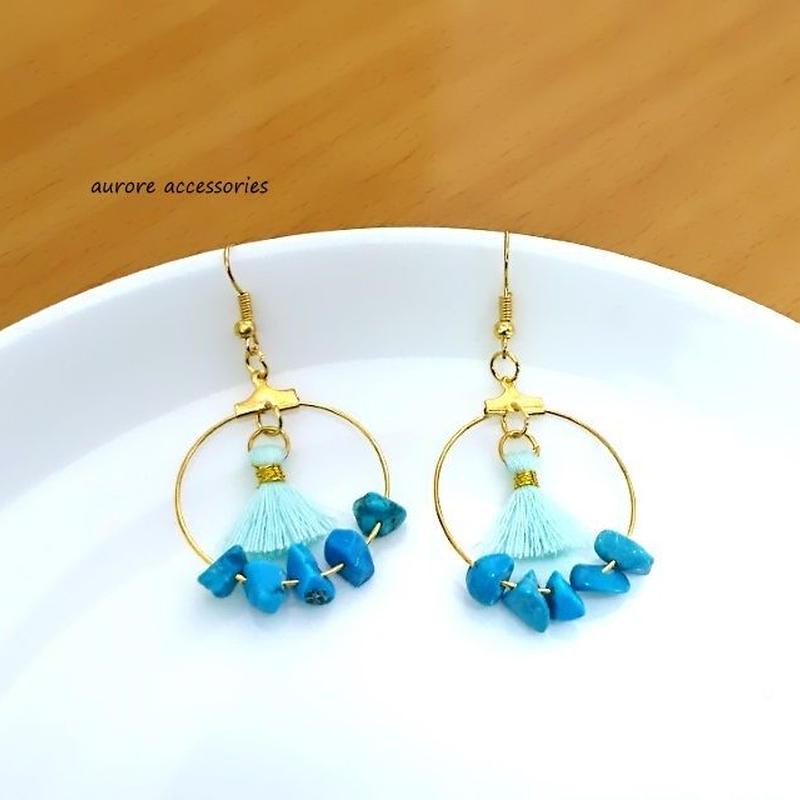 Tassel & hoop pierced earrings タッセルとフープのピアス ターコイズカラー
