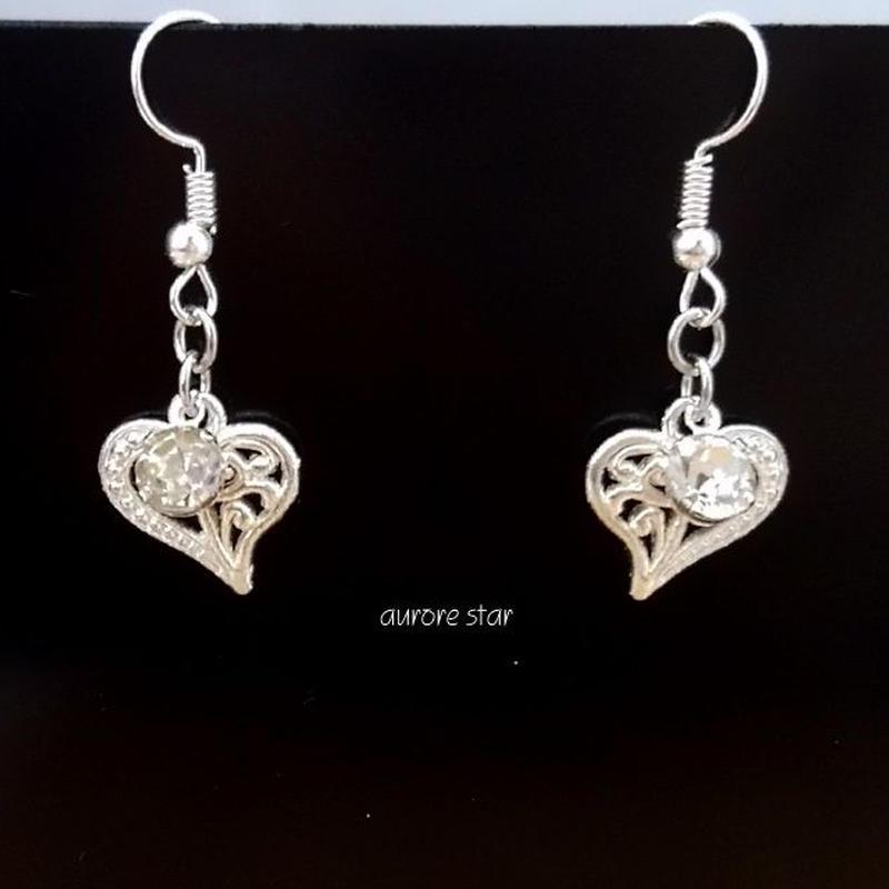 heart pierced earrings ハートのピアス シルバー