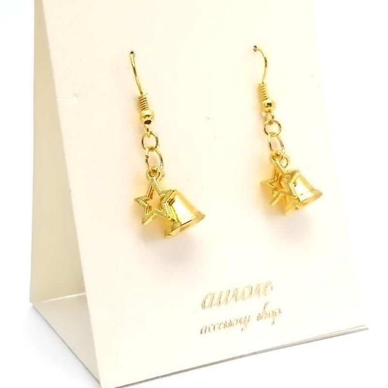 bell pierced earrings ベル&星のピアス ゴールド
