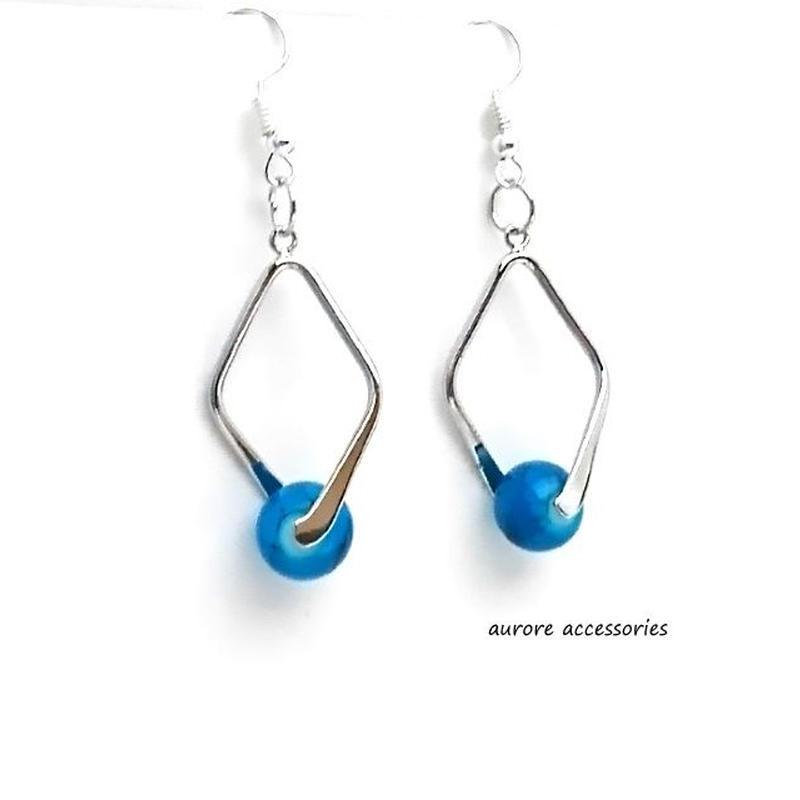 blue pierced earrings ブルー&シルバーのピアス ターコイズカラー