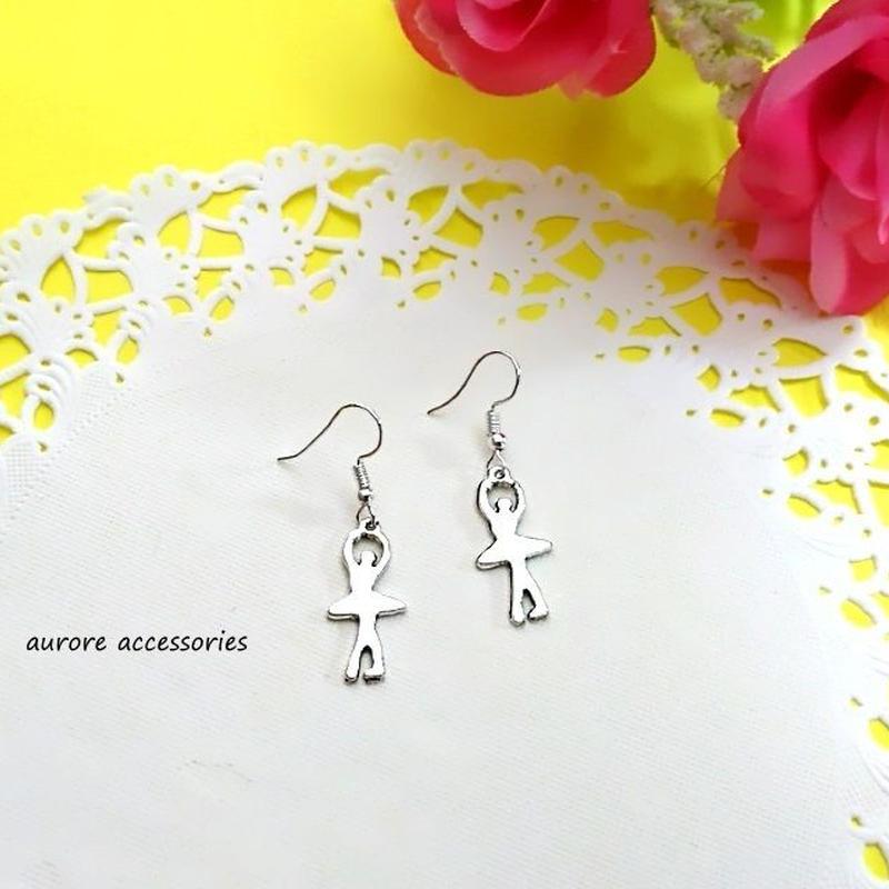 ballet pierced earrings バレリーナのピアス シルエット