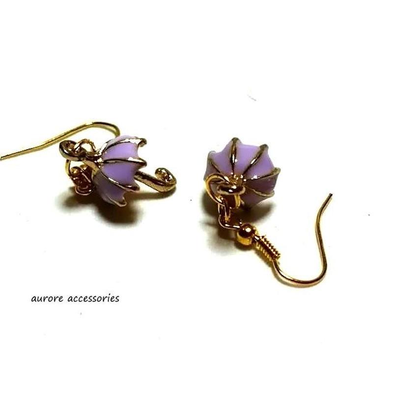 umbrella pierced earrings 傘のピアス パープル