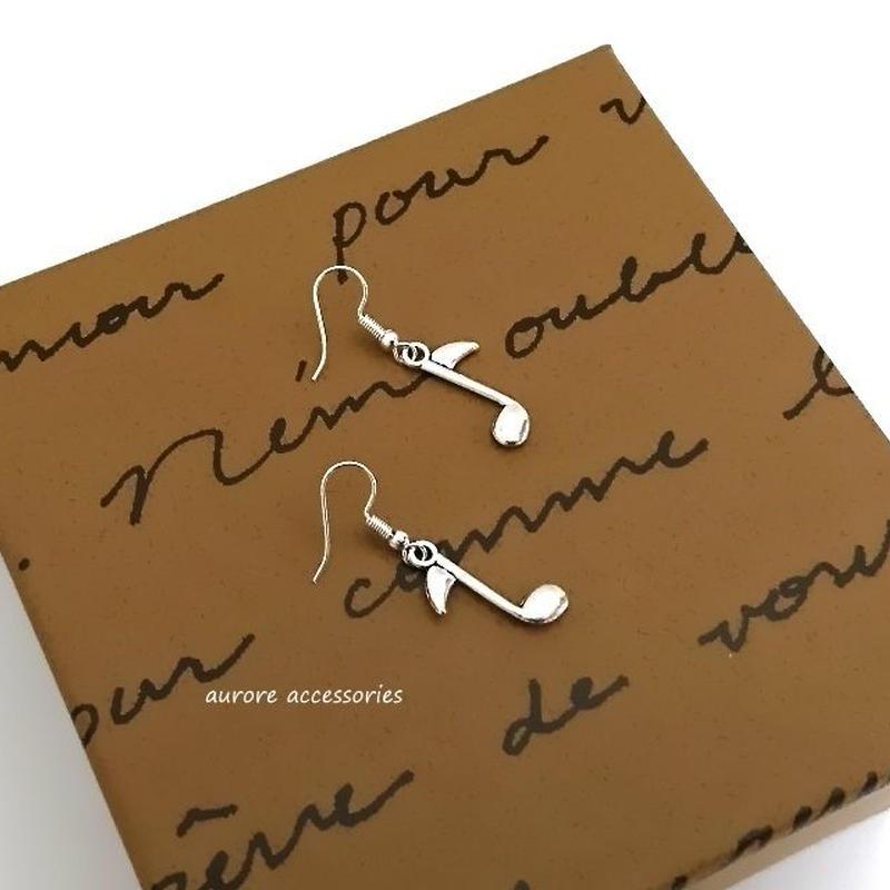 note pierced earrings 音符のピアス