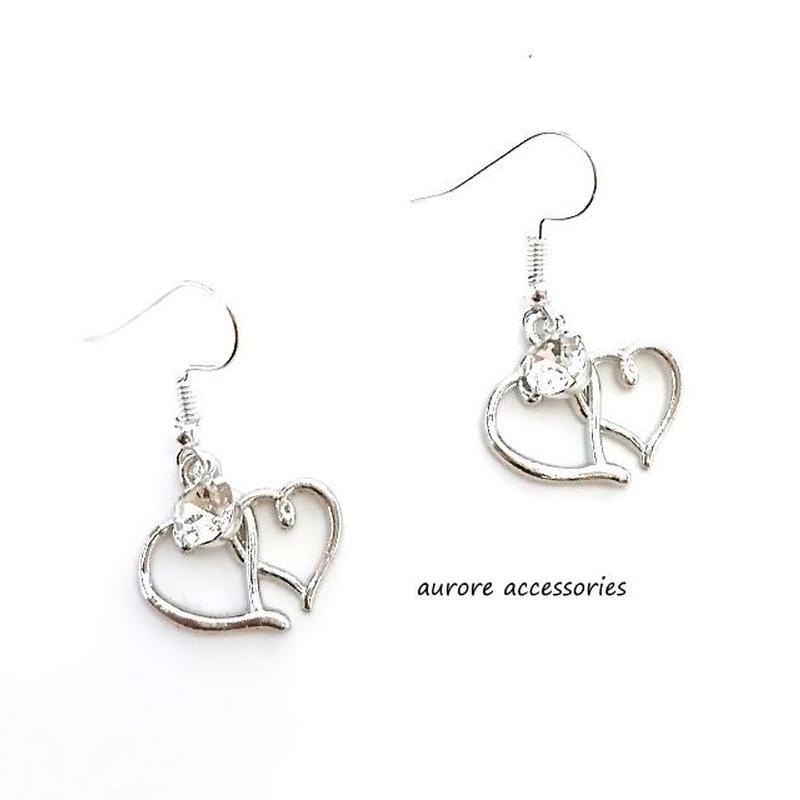 double heart pierced earrings ダブルハートのピアス シルバー