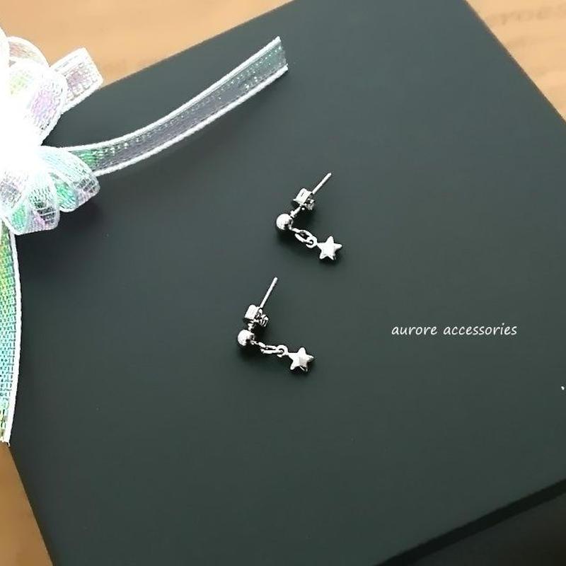 star pierced earrings 星のピアス シルバー 小さめ