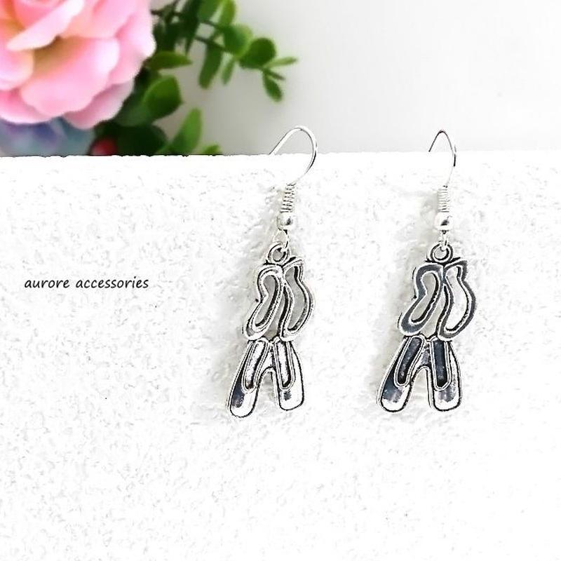 pointe shoes pierced earrings トウシューズのピアス バレエ