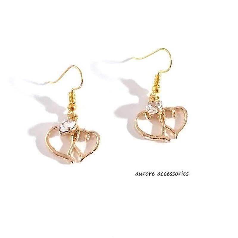 double heart pierced earrings ダブルハートのピアス ゴールド
