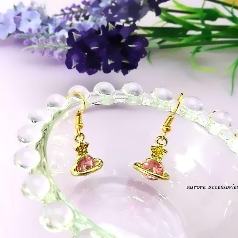 Saturn pierced earrings 土星と星のピアス ピンク