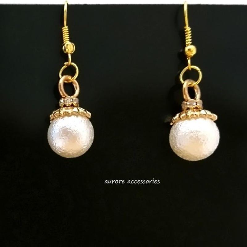 cottonpearl  pierced earrings コットンパールのピアス