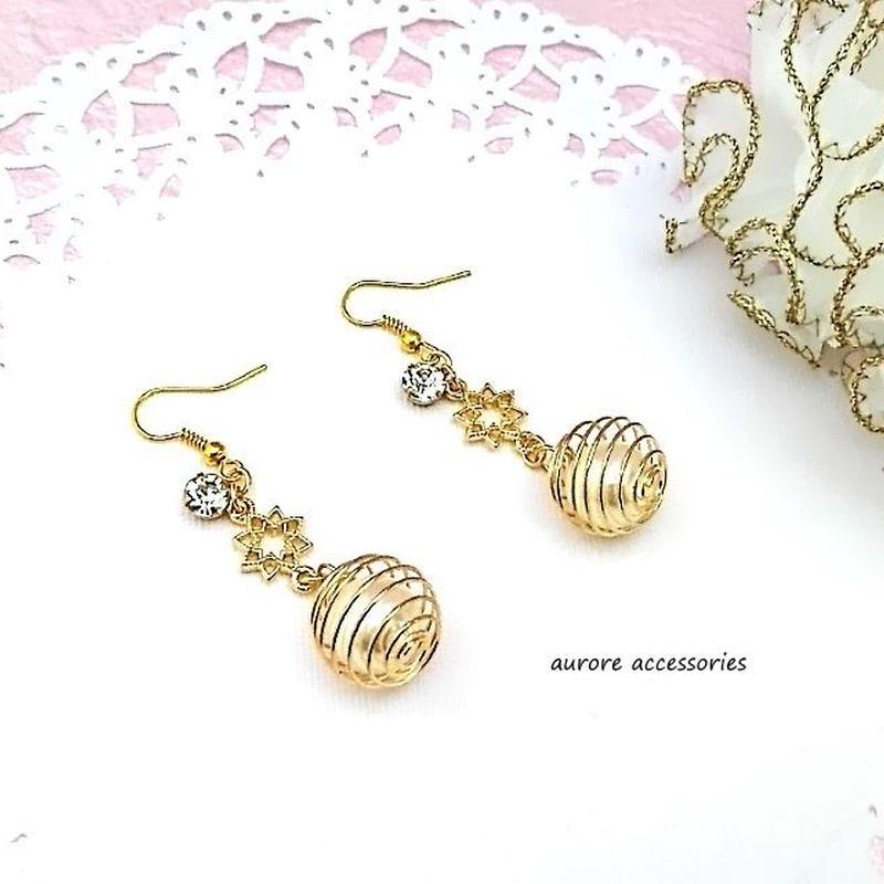 pearl pierced earrings パール ワイヤーボールのピアス