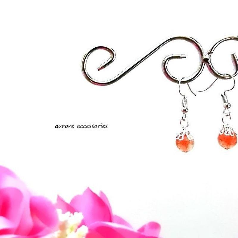 orange pierced earrings クラックビーズのピアス オレンジ