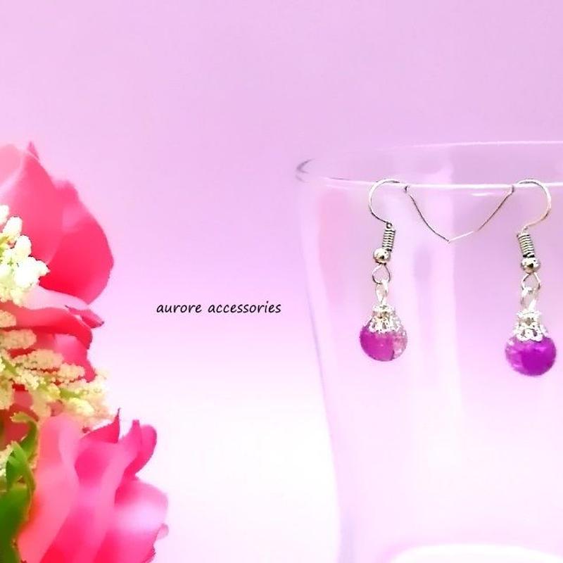 purple pierced earrings クラックビーズのピアス パープル 紫