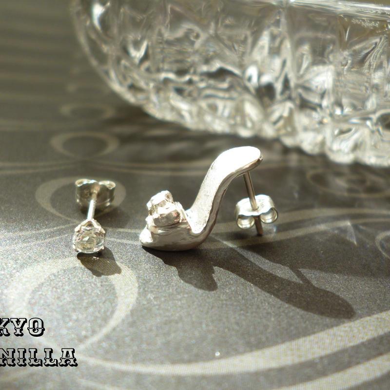 シンデレラの靴 - silverピアス&トパーズ2点set(両耳用) - A