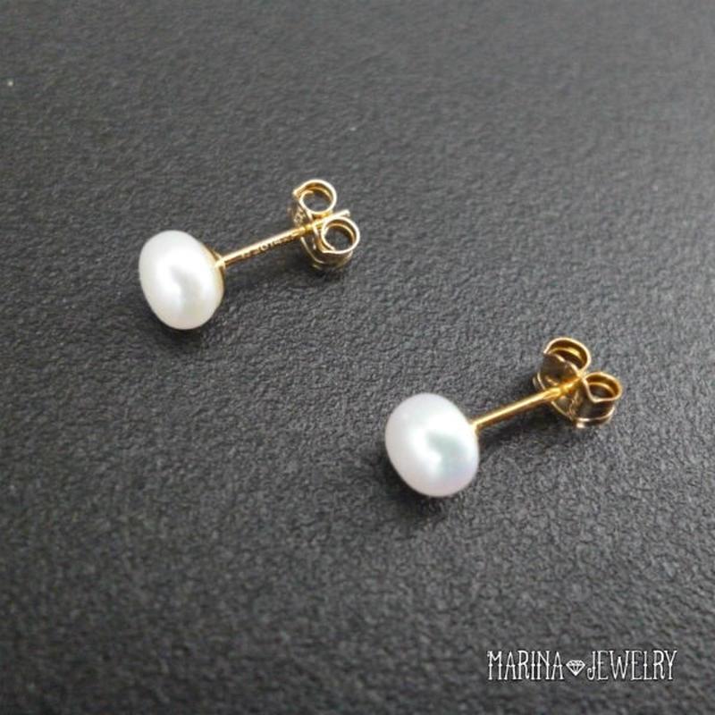 真珠のピアス - stud 14kgf -
