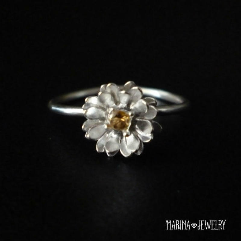 Lotus 蓮の花のリング 【S】 citrine silver