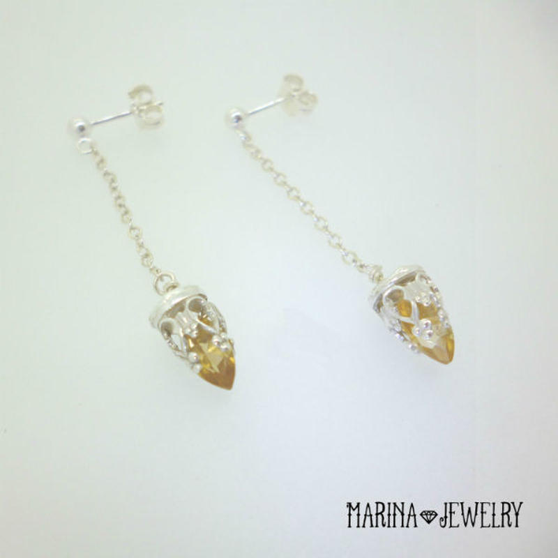 Yellow Lily citrine - silver -