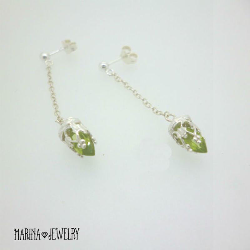 Green Lily peridot - silver -