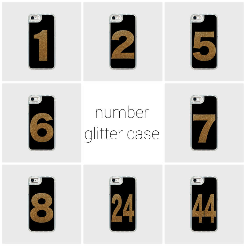 black number glitter smart phone cover