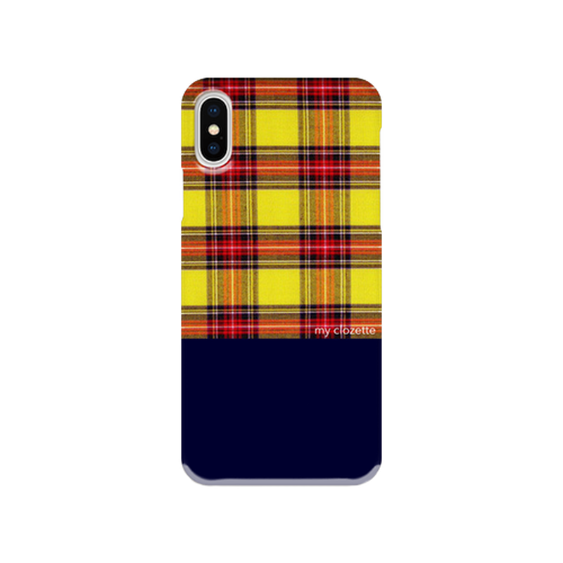 myclozette yellow check 片面 smart phone cover