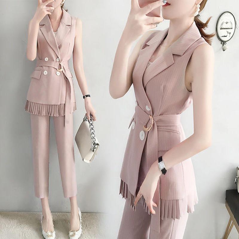 セットアップ❤ジャケット裾のプリーツ可愛いセットアップ hdfks962216