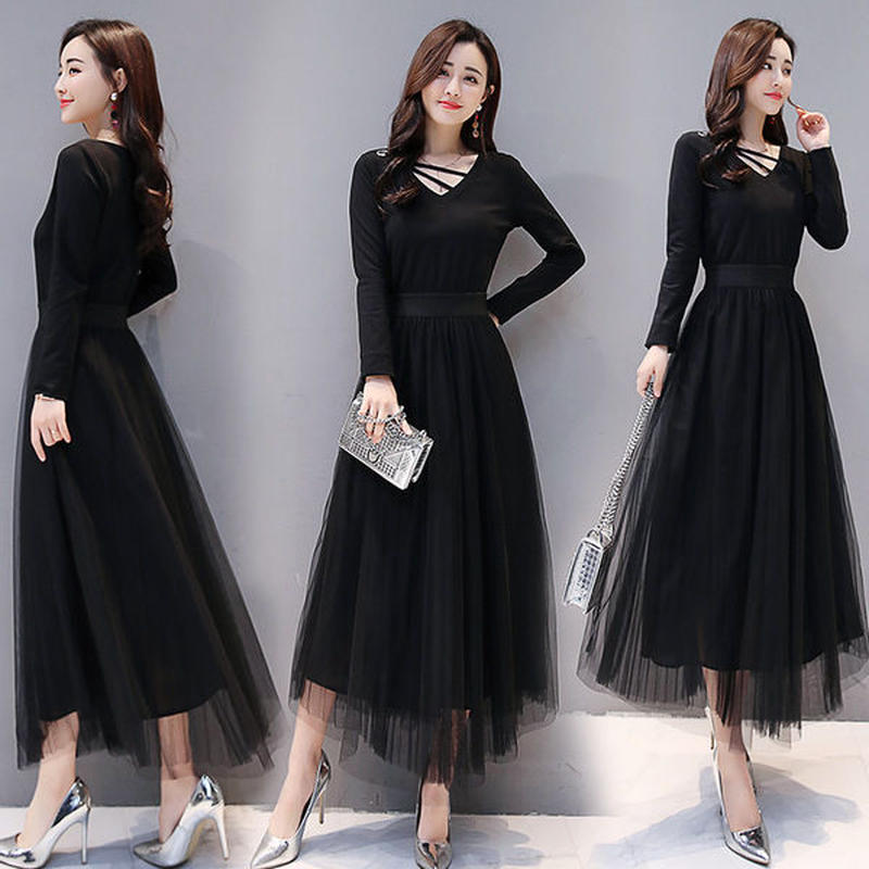 ワンピース❤韓国ドレス Vネックに入ったラインがとっても個性的なブラックワンピース hdfks962053