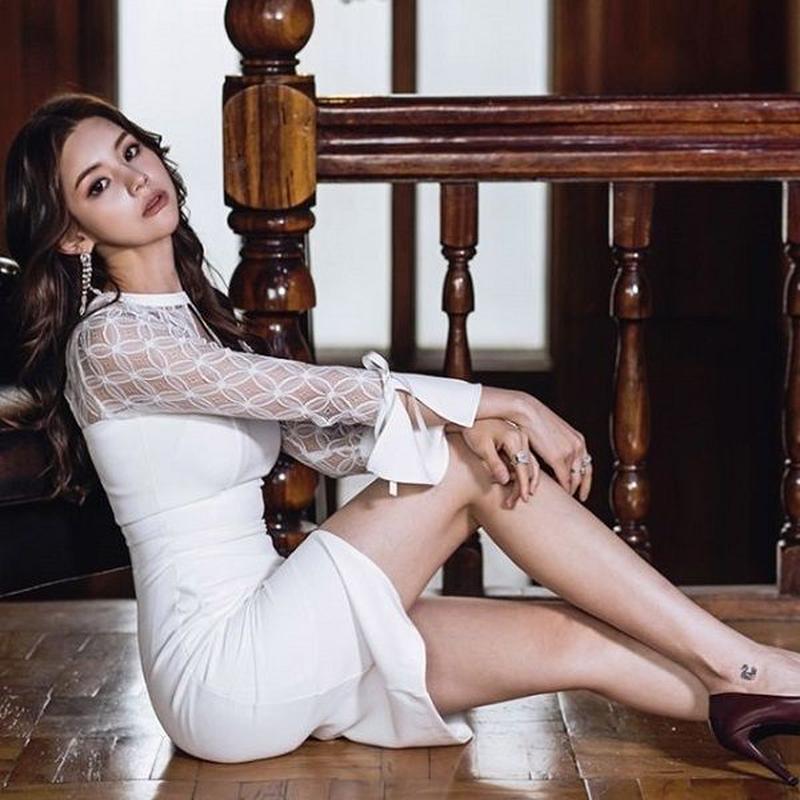 ワンピース❤韓国ドレス 肩のシースルーがエレガントセクシーなホワイトタイトワンピース hdfks962040