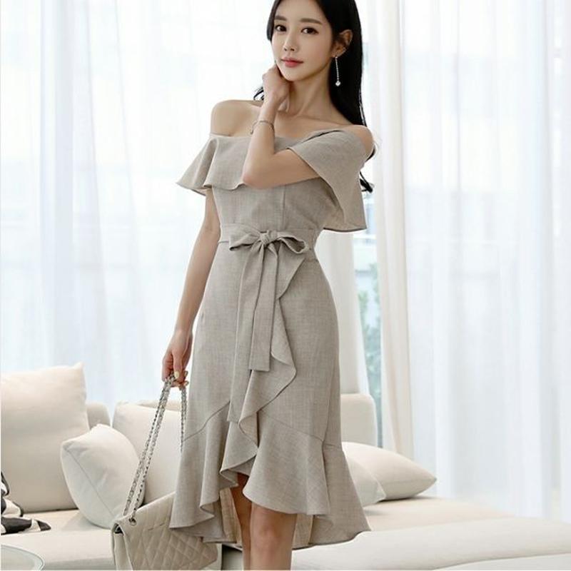 ワンピース❤韓国ドレス オフショルダーにドキっとしちゃうフリルスカート清楚ワンピ hdfks962296