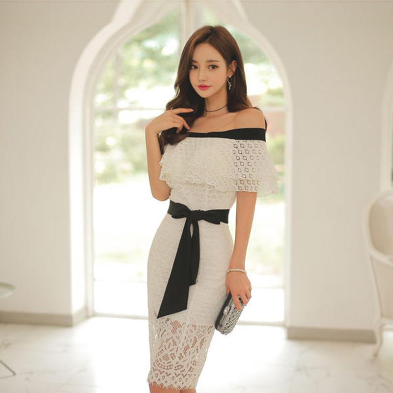 ワンピース❤韓国ドレス 大人可愛いオフショル清楚セクシーなレースのタイトワンピ hdfks962259