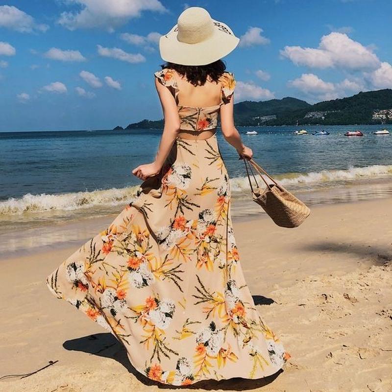 ワンピース❤花柄バックコンシャスのとっても大人可愛いリゾートワンピ hdfks962192