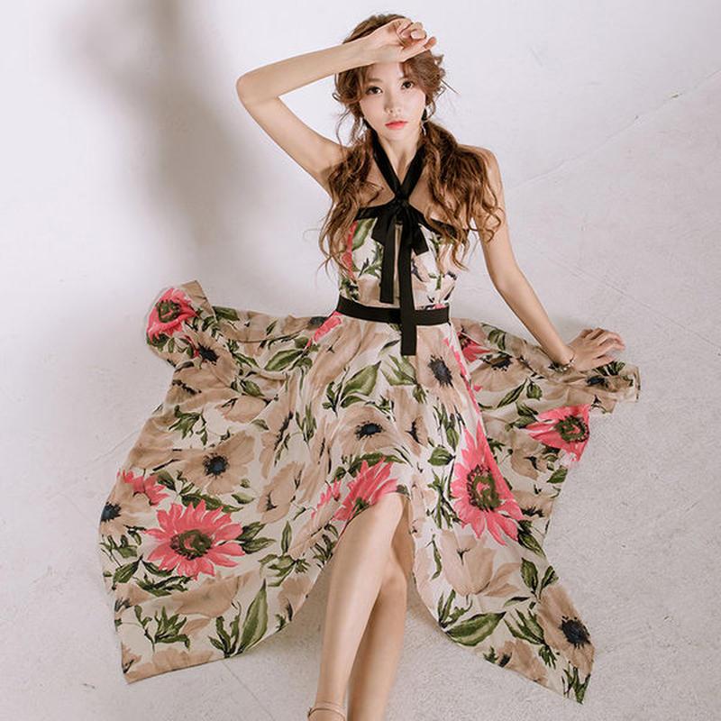 ワンピース❤花柄オフショルの夏のリゾートワンピース hdfks962263