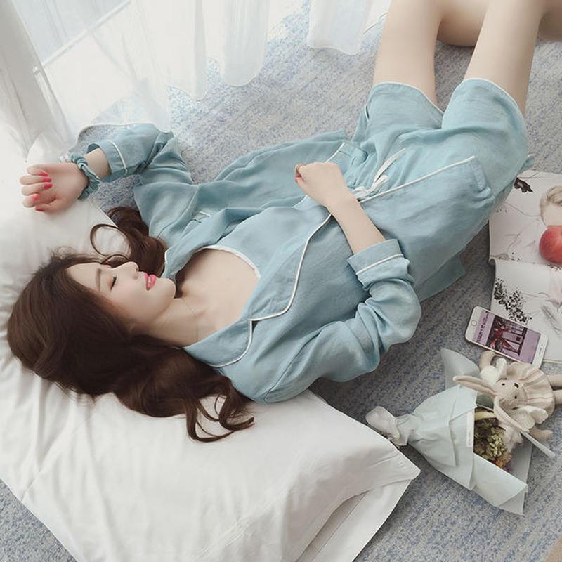 ルームウエア❤パジャマ 心地よい眠りを!!長袖・長ズボン・キャミソール・短パン・ヘアバンド2種・ポーチと7点セット! hdfks961115