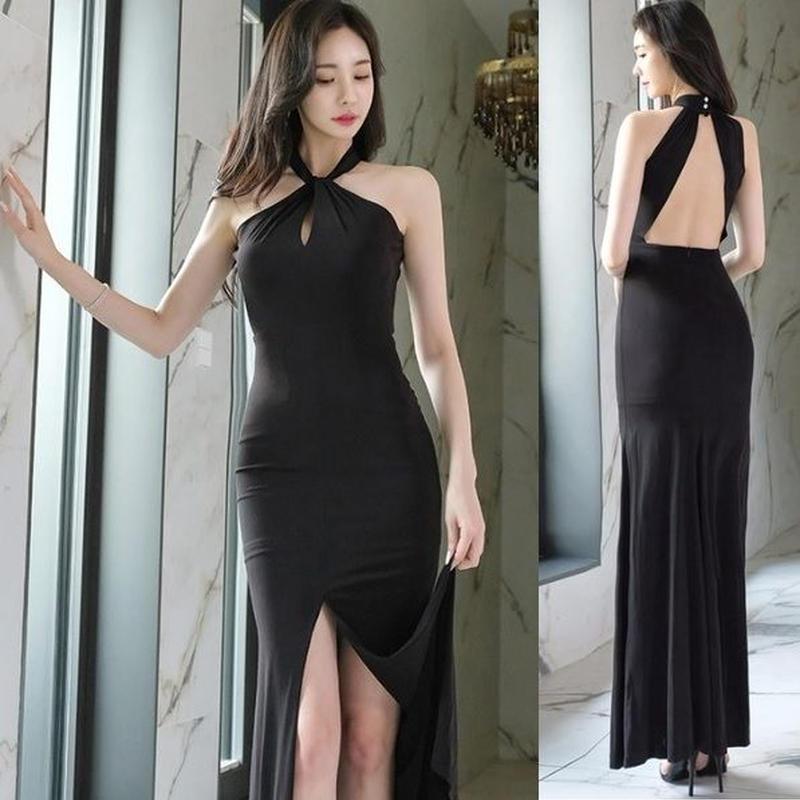 ワンピース❤韓国ドレス とっても、どセクシーなバックオープンホルターネックロングワンピ hdfks962301