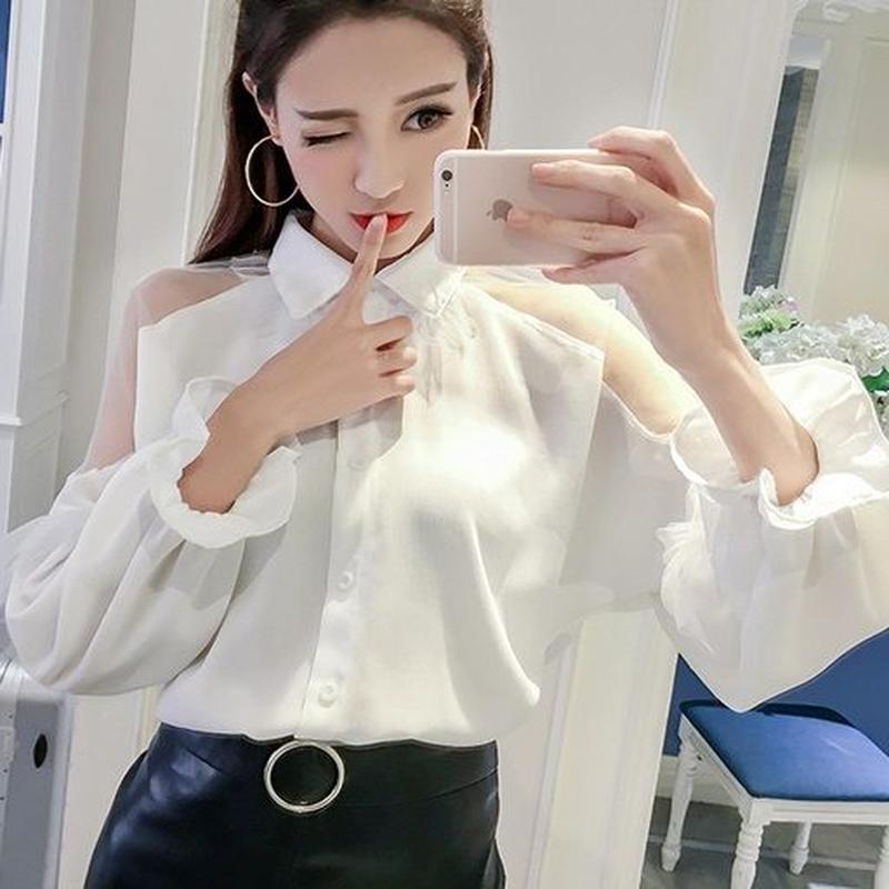 ブラウス❤トップス 肩の大胆シースルーとパフスリーブ可愛いシャツ hdfks962139