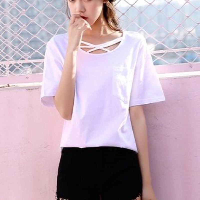 トップス❤首元デザイン可愛いシンプルお洒落なTシャツ hdfks962348