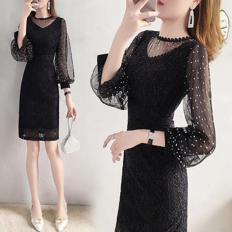 ワンピース❤韓国ドレス 大人可愛いドットシースルーのブラックドレス hdfks962213
