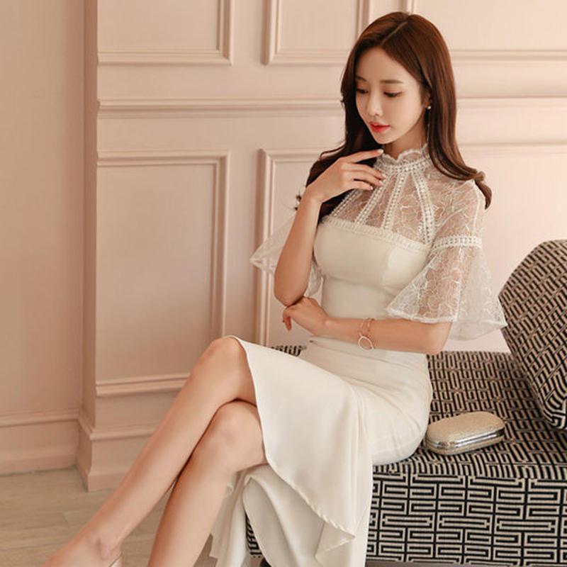 ワンピース❤韓国ドレス エレガントな肩レースにフィッシュテールスカートが可愛い清楚なドレスワンピ hdfks962036