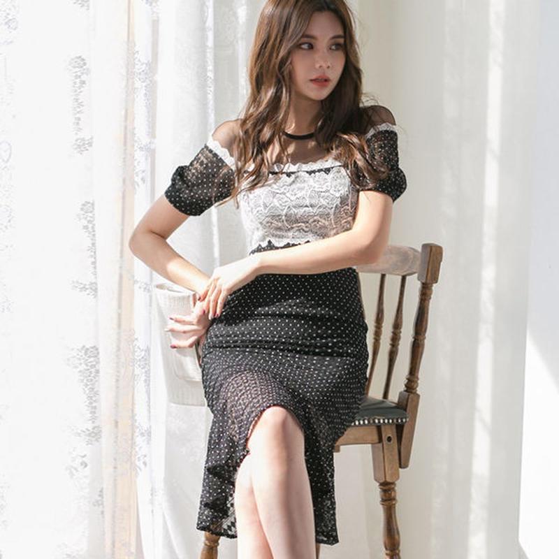 セクシーワンピース❤フラワーレースとドット柄大人可愛い韓国ドレス hdfks962204