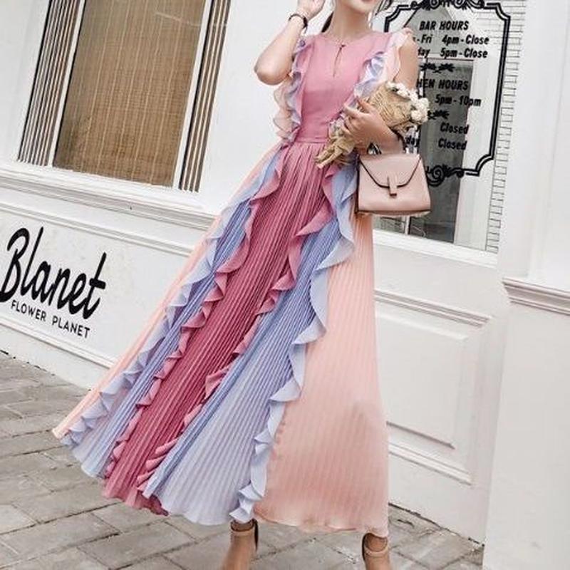 ワンピース❤韓国ドレス ピンクフリルプリーツが幻想的な個性的ロングワンピース hdfks962189