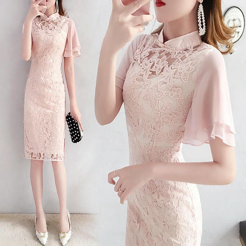 ワンピース❤韓国ドレス 花柄レースがとっても可愛いピンクワンピ hdfks962211