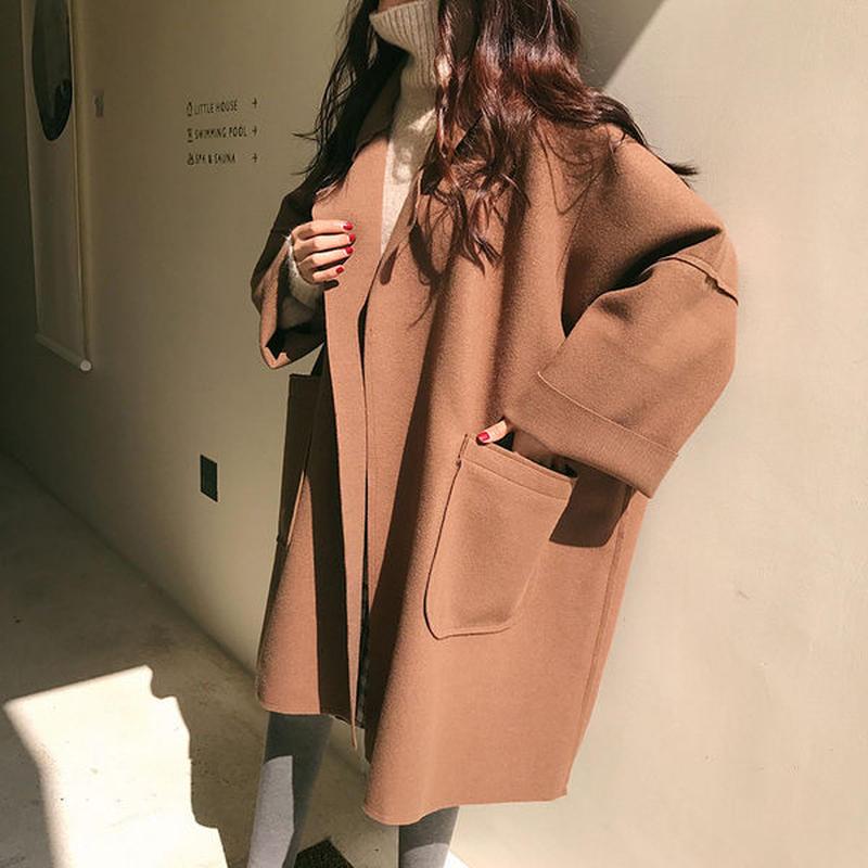 アウター❤チェスターコート ダボッと韓国ファッションで可愛いコート hdfks961872