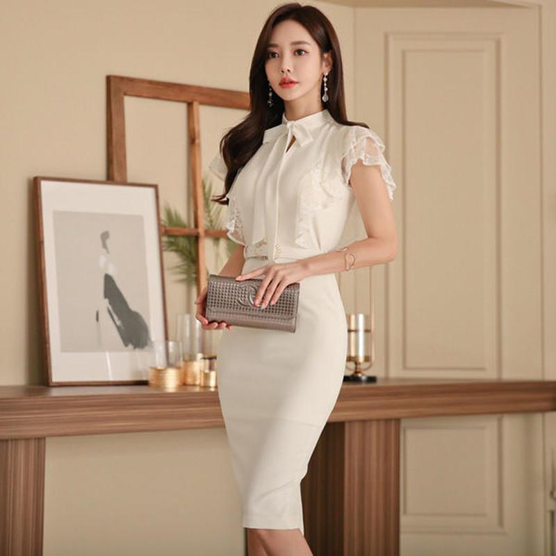 ce14f6f028fc4 セクシーワンピース❤清楚大人可愛いホワイトボウタイリボンの韓国ドレス hdfks962206