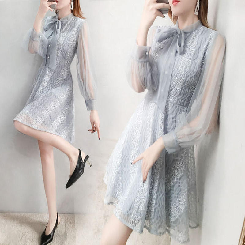 ワンピース❤韓国ドレス ボウタイリボンにブルーのレースで可愛いフェミニンガーリー hdfks962212
