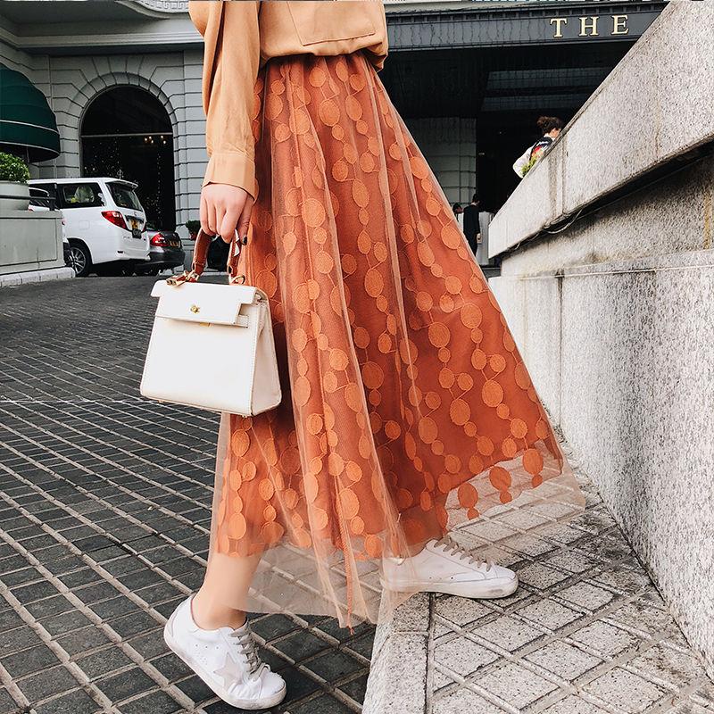 スカート❤水玉模様が可愛い、シースルーなマキシ丈スカート hdfks958115
