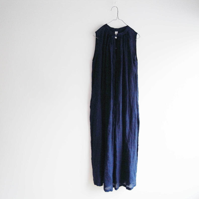 MC016 / LONG GATHERED DRESS  (INDIGO)